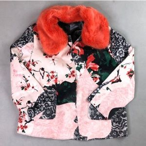 Guess floral coat with removable fur